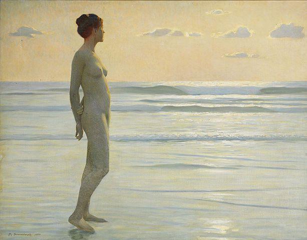 Max Nonnenbruchs Versionen von Junge Frau am Strand