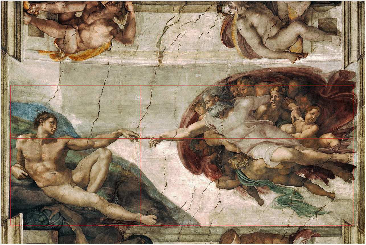 Michel Angelo: Creation of Adam mit Beispiel für den Goldenen Schnitt - www.matthias-foto.de