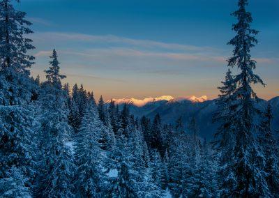 Sonnenaufgang am Kreuzeck im Winter